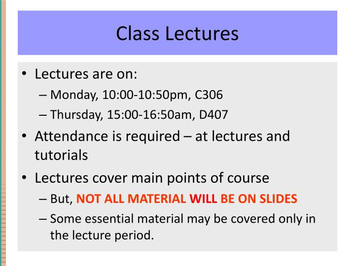Class Lectures