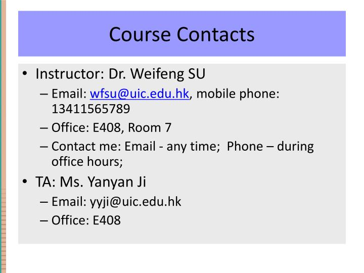 Course Contacts