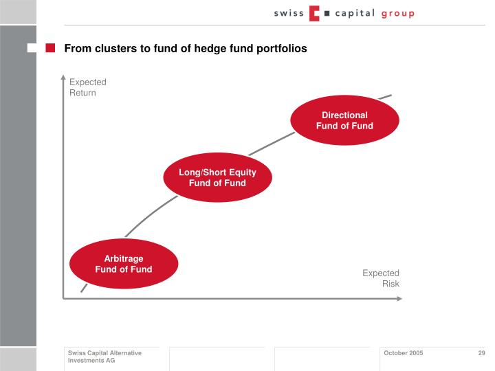From clusters to fund of hedge fund portfolios