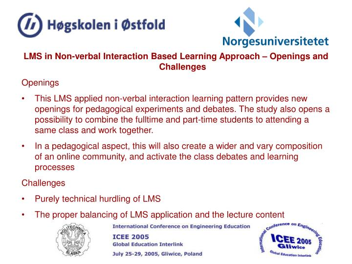 LMS in Non-verbal Interaction Based Learning Approach – Openings and Challenges