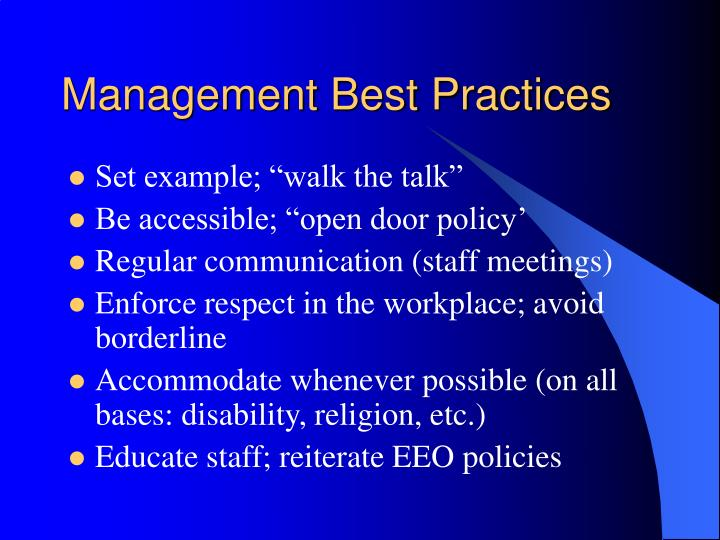 Management Best Practices