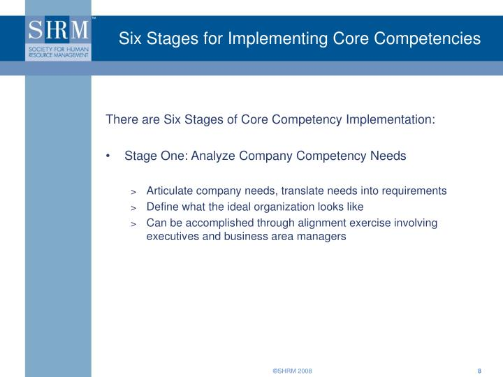 Six Stages for Implementing Core Competencies