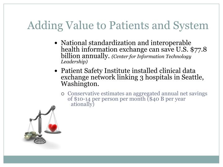 Adding Value to Patients and System