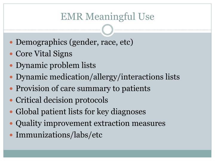 EMR Meaningful Use