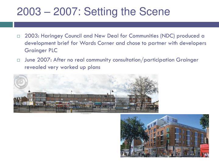 2003 – 2007: Setting the Scene