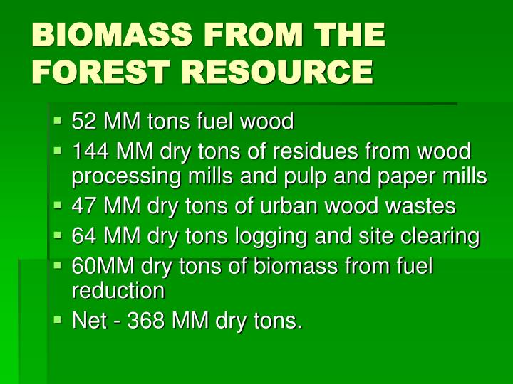 BIOMASS FROM THE FOREST RESOURCE