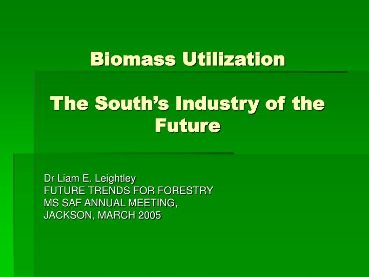 Biomass utilization the south s industry of the future