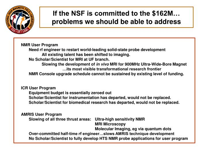 If the NSF is committed to the $162M…