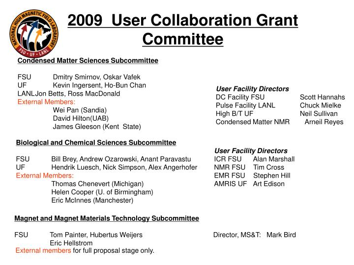 2009  User Collaboration Grant  Committee