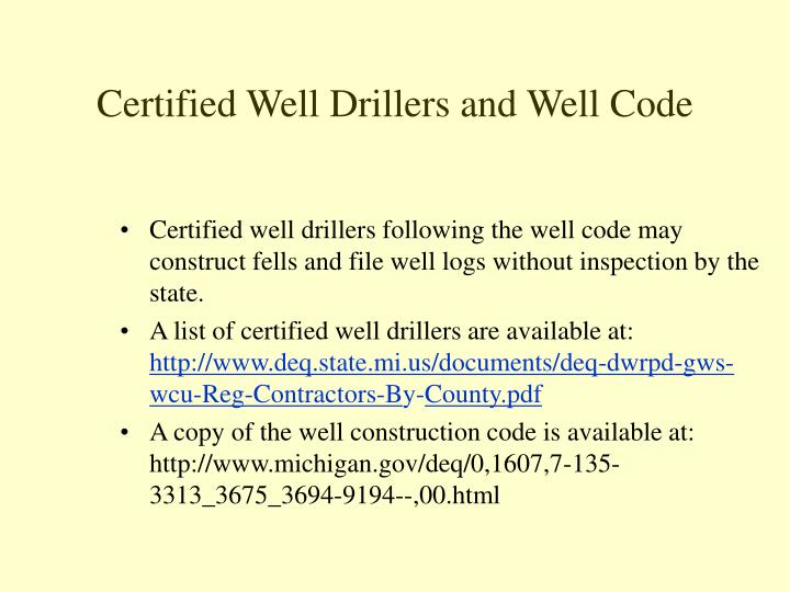 Certified Well Drillers and Well Code