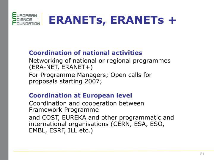 ERANETs, ERANETs +