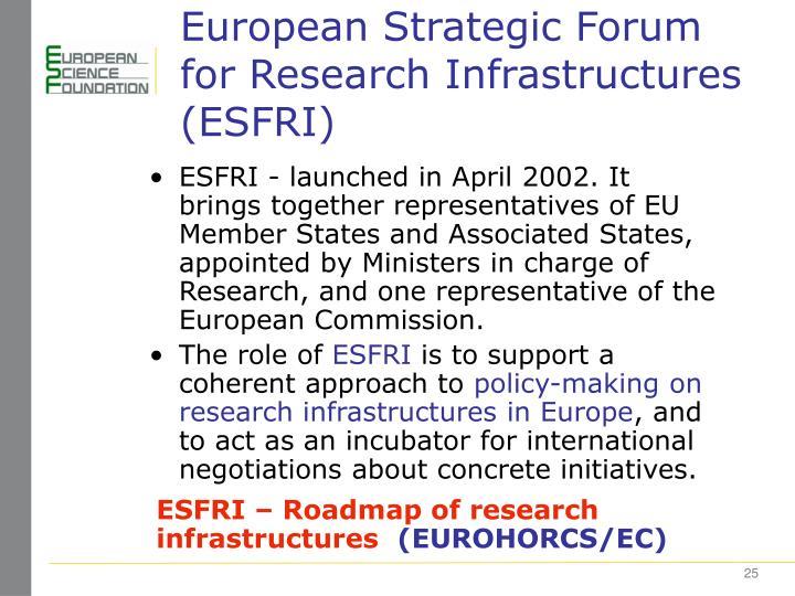 European Strategic Forum for Research Infrastructures (ESFRI)