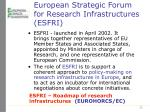 european strategic forum for research infrastructures esfri