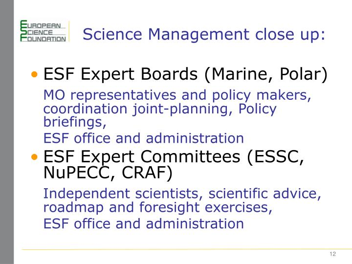 Science Management close up: