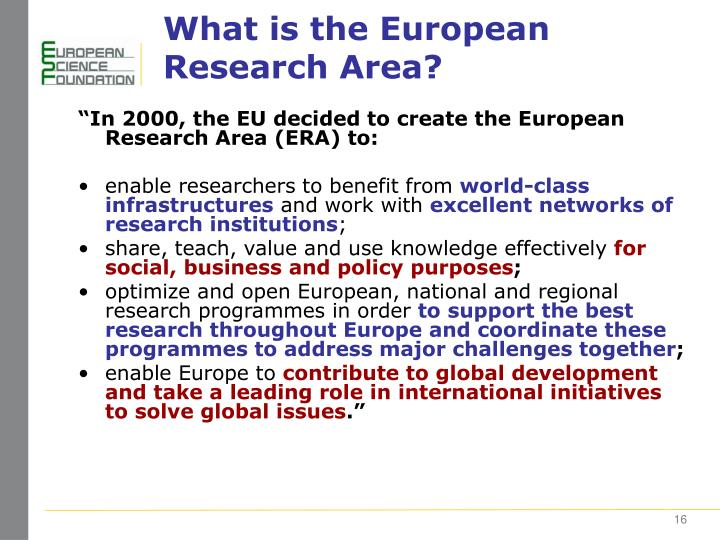 What is the European Research Area?