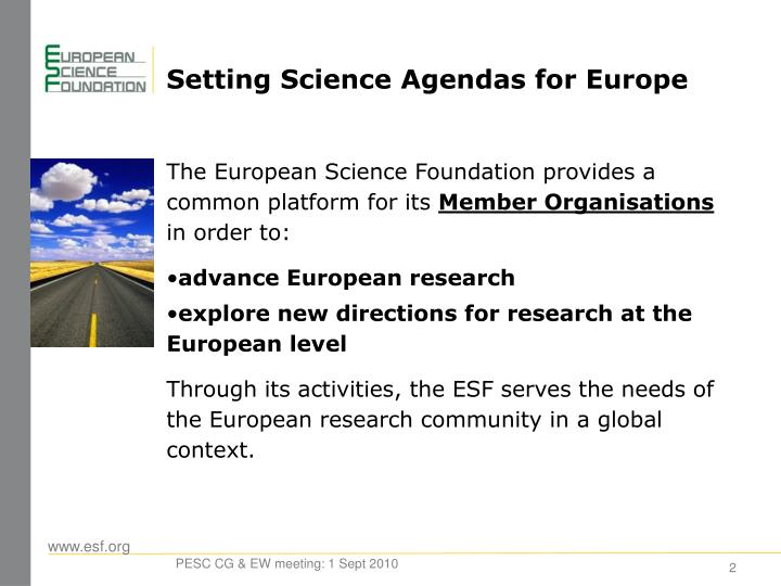 Setting Science Agendas for Europe