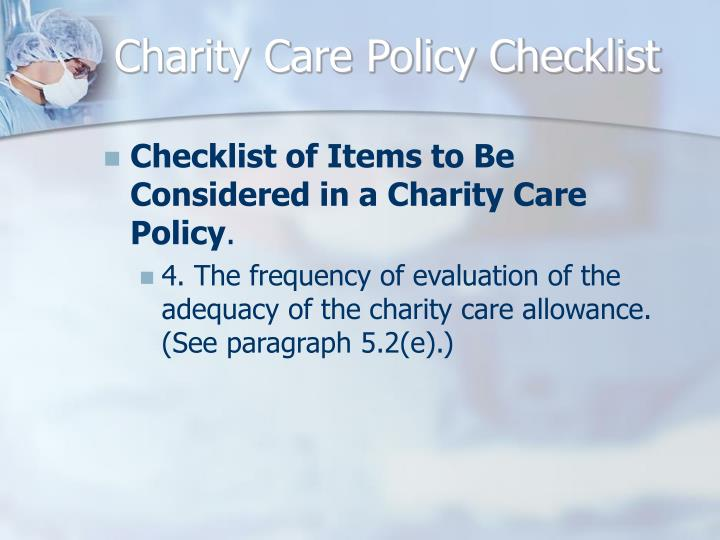 Charity Care Policy Checklist
