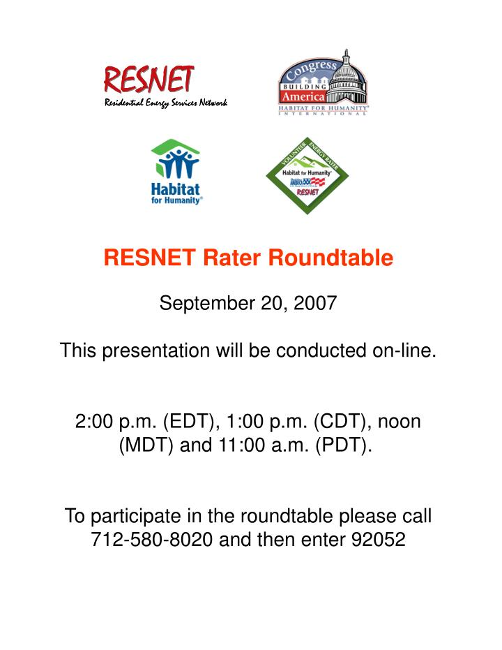 RESNET Rater Roundtable