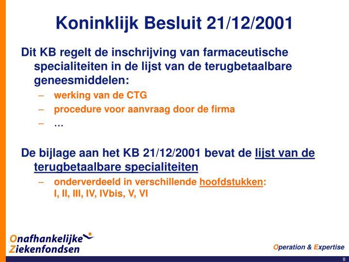 Koninklijk Besluit 21/12/2001
