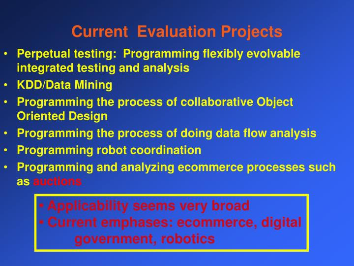 Current  Evaluation Projects