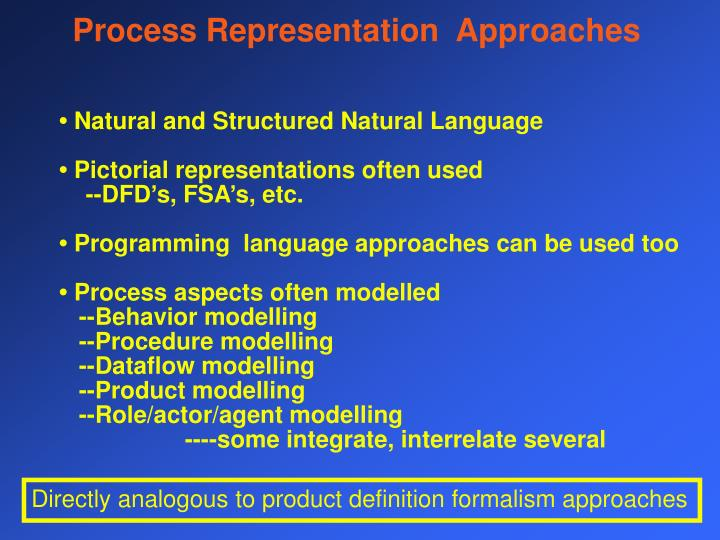 Process Representation  Approaches