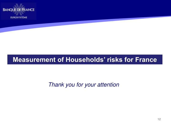 Measurement of Households' risks for France