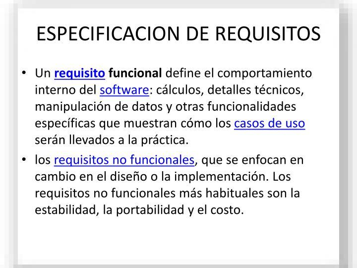 ESPECIFICACION DE REQUISITOS