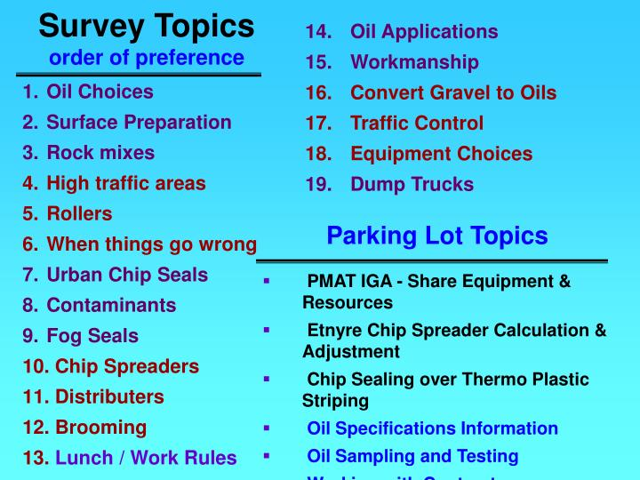 Survey topics order of preference