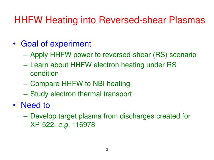 Hhfw heating into reversed shear plasmas1