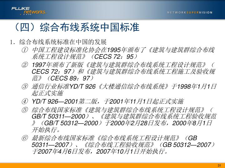 (四)综合布线系统中国标准