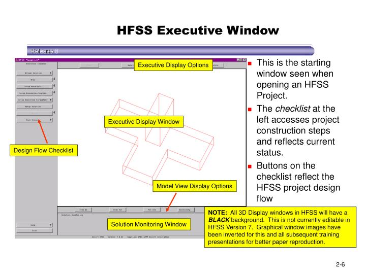 HFSS Executive Window