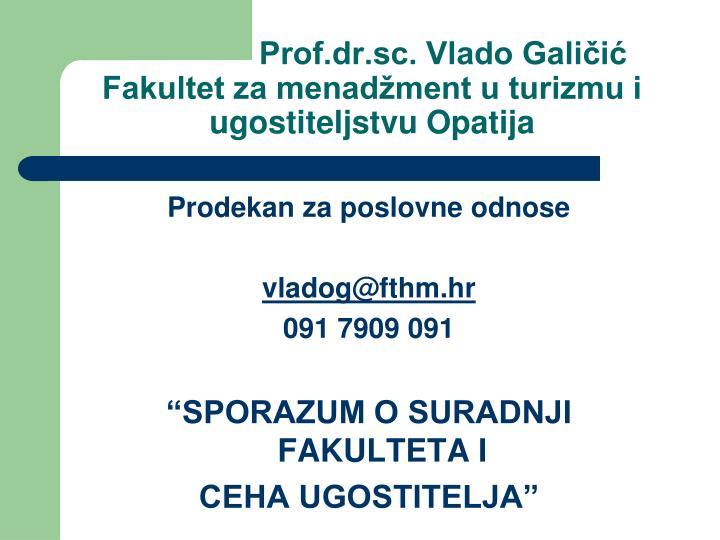 Prof.dr.sc. Vlado Galičić