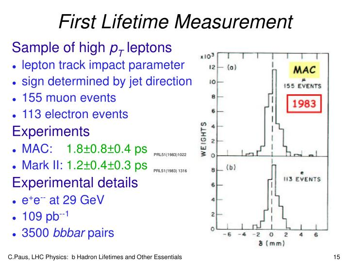 First Lifetime Measurement