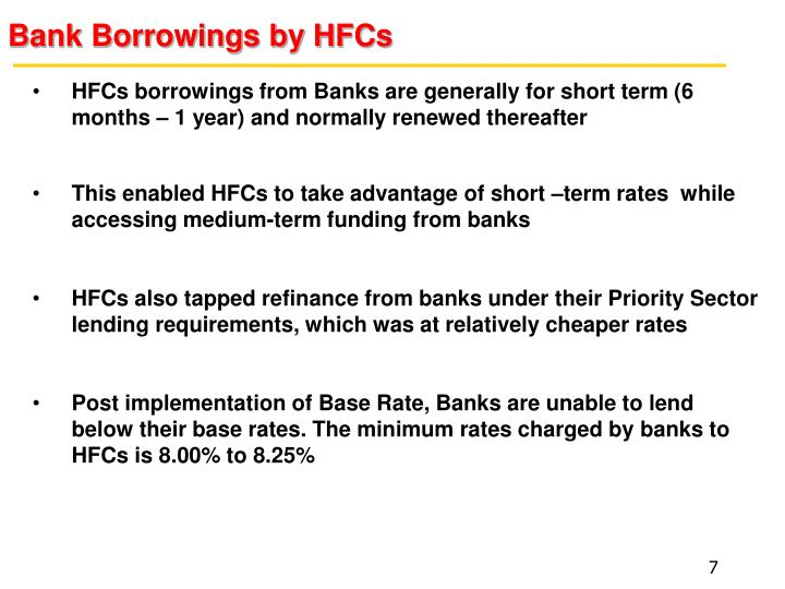 Bank Borrowings by HFCs
