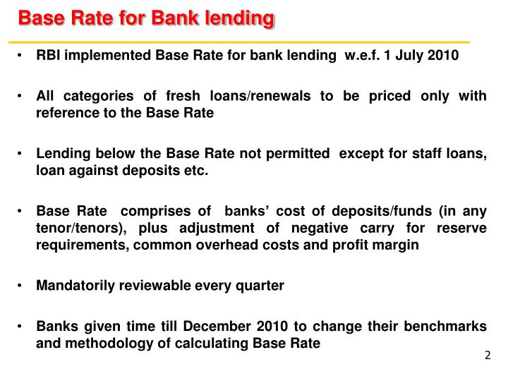 Base rate for bank lending
