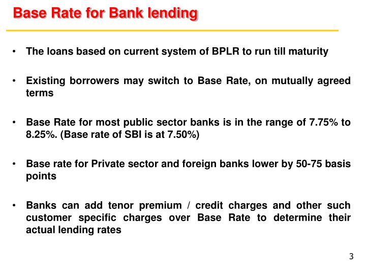 Base rate for bank lending1