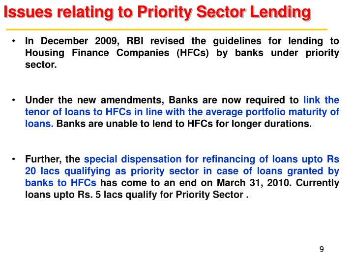 Issues relating to Priority Sector Lending