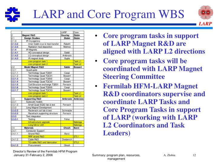 LARP and Core Program WBS