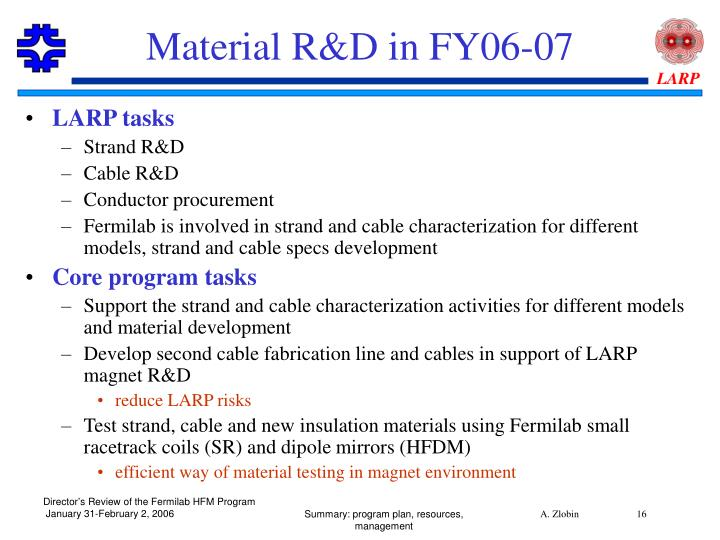 Material R&D in FY06-07