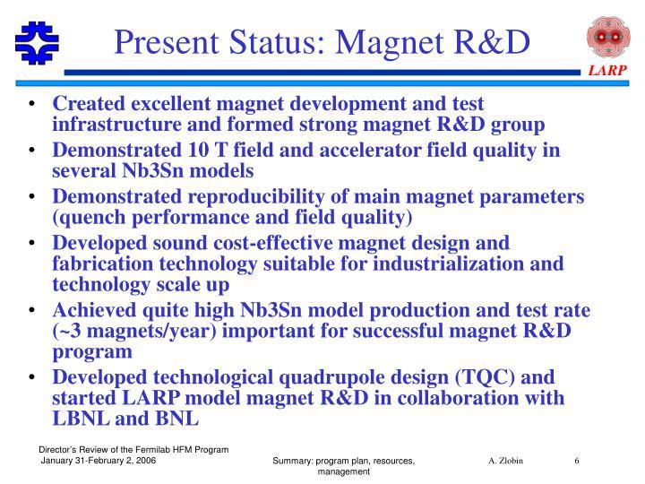 Present Status: Magnet R&D