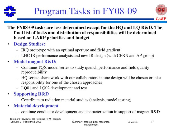 Program Tasks in FY08-09