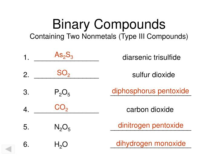 Binary compounds containing two nonmetals type iii compounds