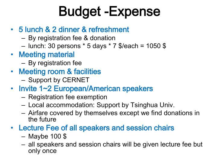 Budget -Expense