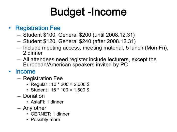 Budget -Income