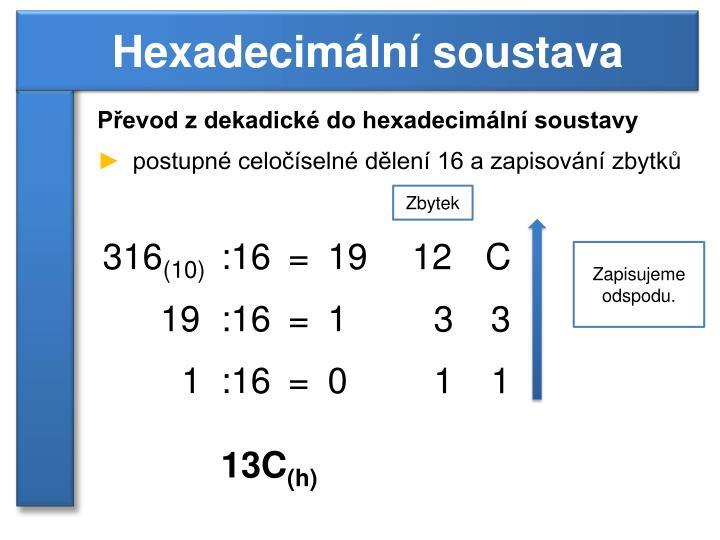 Převod z dekadické do hexadecimální soustavy