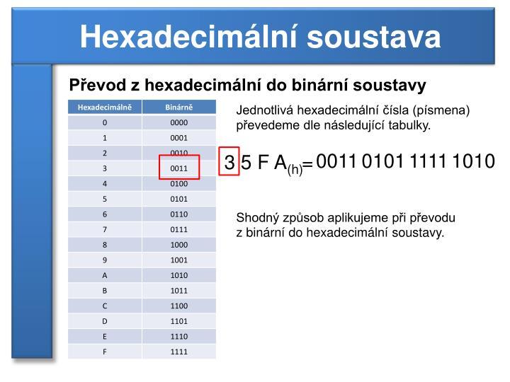 Převod z hexadecimální do binární soustavy
