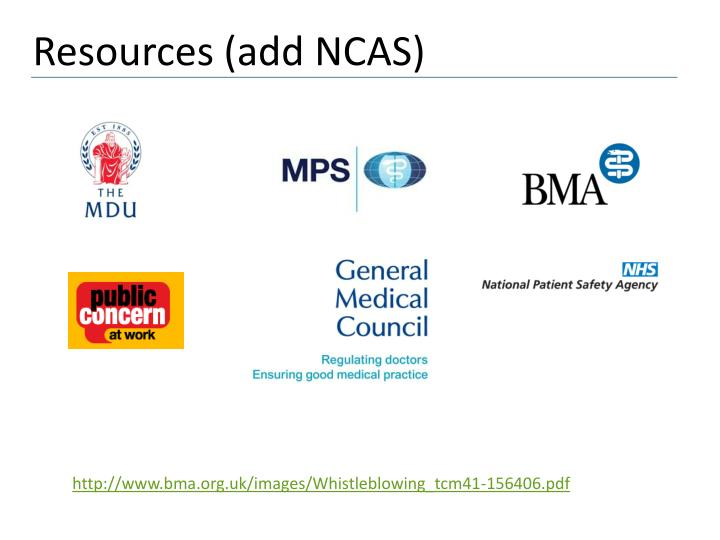 Resources (add NCAS)