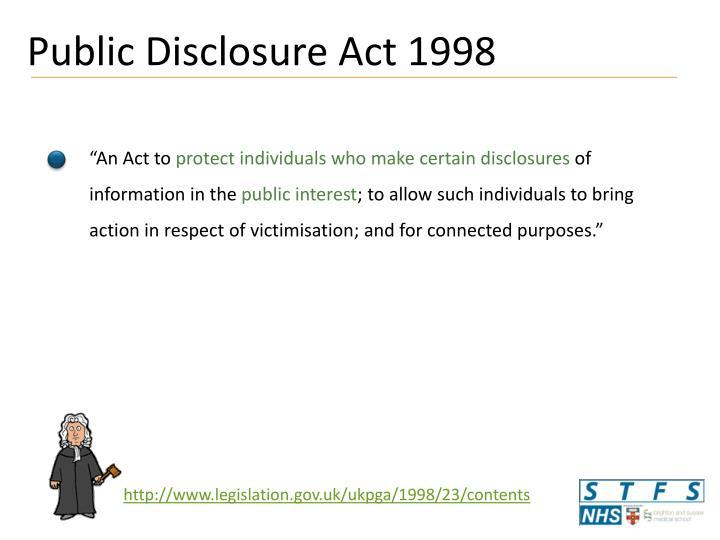 Public Disclosure Act 1998