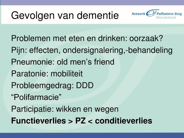 Gevolgen van dementie