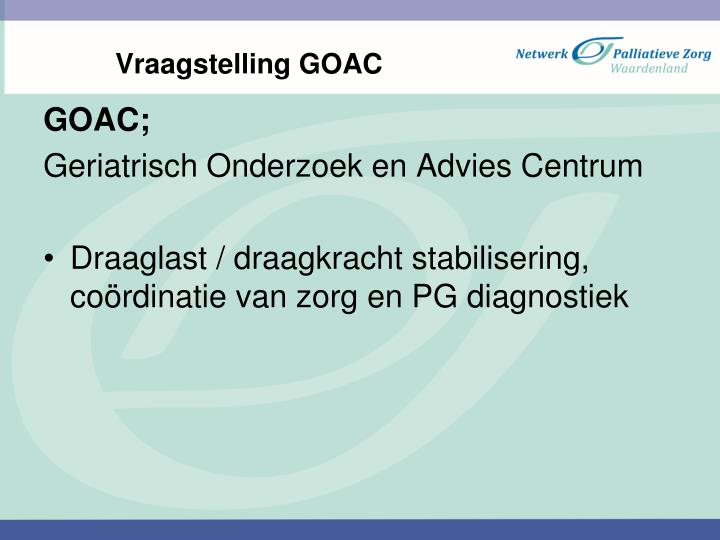 Vraagstelling goac